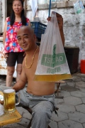Qingdao, beer sold in plastic bags