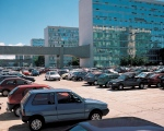 Brasilia, car park at Ministries office blocks