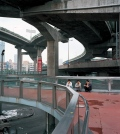Shanghai, Motorway Intersection in Downtown, 3 men waiting