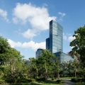Poly Plaza, architect gmp, view from river garden,  Shanghai Pudong