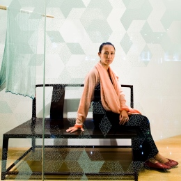 Qiong Er, Artist Designer, Shanghai, at her new Shang Xia shop on Huai Hai LU, wallpaper