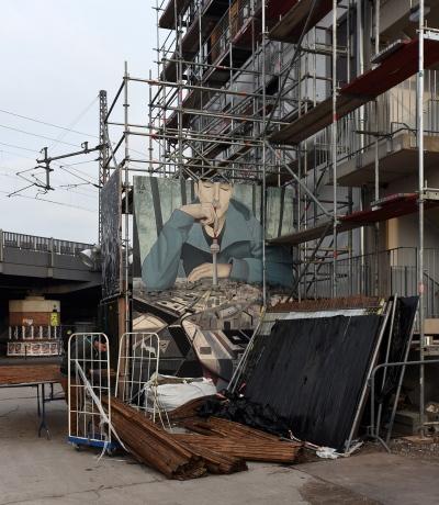 Holzmarkt, Baustelle mit Berlin-Bild