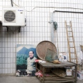 Maos birthplace-Shaoshan village- picture of Mao at a village house- in Hunan province- brandeins