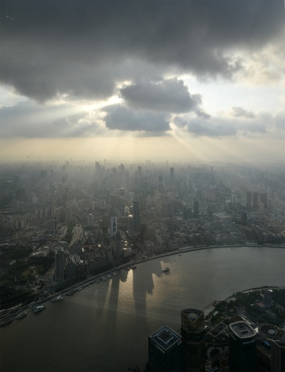 Shanghai Puxi Panorama in the clouds