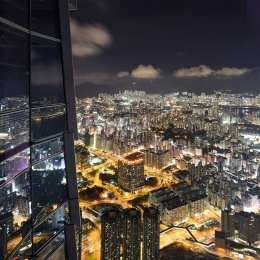 View from Sky 100 by night towards Kowloon