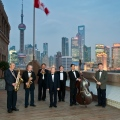 Peace Hotel Jazz band, trumpeter Rong center, on the roof of the peace hotel, Shanghai, Focus