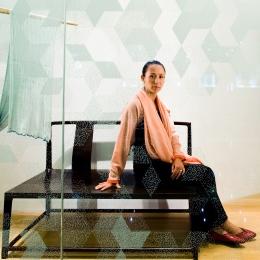 Qiong Er, Artist Designer, Shanghai, at her new Shang Xia shop on Huai Hai LU, wallpaper