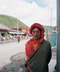 man in traditional tibetan dress, Tagong Sichuan