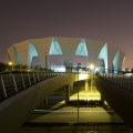 SOSC Shanghai Oriental Swimming Center, Open Pool by night, 2 year documentation for Architects gmp