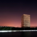SOSC Shanghai Oriental Swimming Center, Press Tower by night, 2 year documentation for Architects gmp