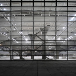 SOSC Shanghai Oriental Swimming Center, Natatorium Detail by night, 2 year documentation for Architects gmp