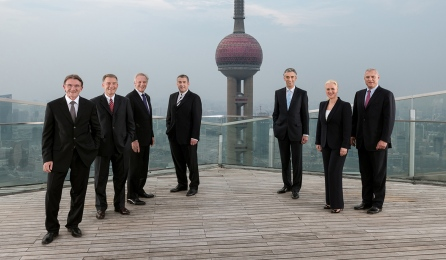 DHL, Annual Report, Board of DHL Portrait, on Shanghai's highest open Terrace in Pudong