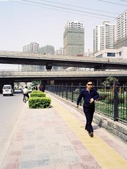 Man exercising in Xi'an suburbs